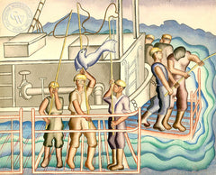 Fisherman, c. 1930's, California art by Ruth Ortlieb. HD giclee art prints for sale at CaliforniaWatercolor.com - original California paintings, & premium giclee prints for sale