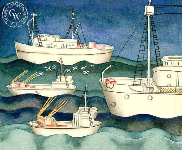 Fishing Boats, c. 1930's, California art by Ruth Ortlieb. HD giclee art prints for sale at CaliforniaWatercolor.com - original California paintings, & premium giclee prints for sale