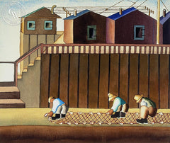 Fixing the Net, c. 1930's, California art by Ruth Ortlieb. HD giclee art prints for sale at CaliforniaWatercolor.com - original California paintings, & premium giclee prints for sale
