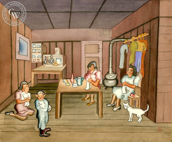 Kitchen Chores, c. 1930's, California art by Ruth Ortlieb. HD giclee art prints for sale at CaliforniaWatercolor.com - original California paintings, & premium giclee prints for sale