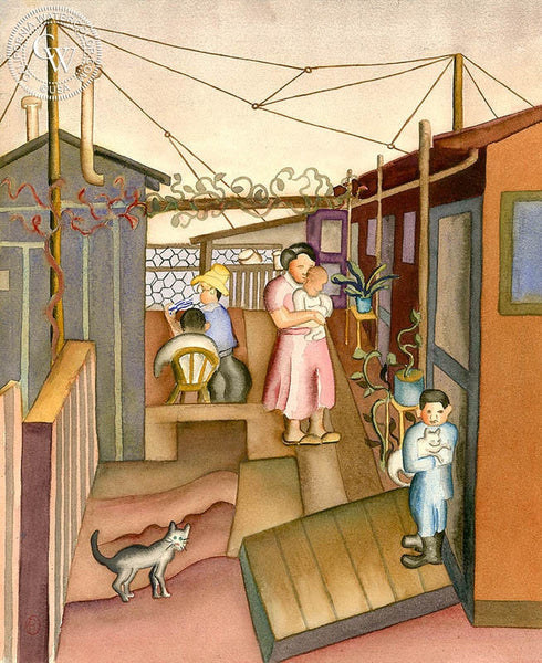 Patio Scene, c. 1930's, California art by Ruth Ortlieb. HD giclee art prints for sale at CaliforniaWatercolor.com - original California paintings, & premium giclee prints for sale