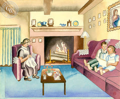 Relaxing by the Fireplace, c. 1930's, California art by Ruth Ortlieb. HD giclee art prints for sale at CaliforniaWatercolor.com - original California paintings, & premium giclee prints for sale