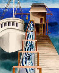 Unloading the Catch, c. 1930's, California art by Ruth Ortlieb. HD giclee art prints for sale at CaliforniaWatercolor.com - original California paintings, & premium giclee prints for sale