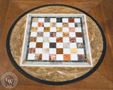 Chess table by Sam Maloof designed for Millard Sheets, chess board from Northern Italy, made from tiles used in Beverly Hills Mosaics by Millard Sheets, CaliforniaWatercolor.com