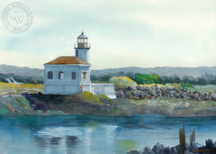 Lighthouse at Bandon, OR, California art by Steve Santmyer. HD giclee art prints for sale at CaliforniaWatercolor.com - original California paintings, & premium giclee prints for sale