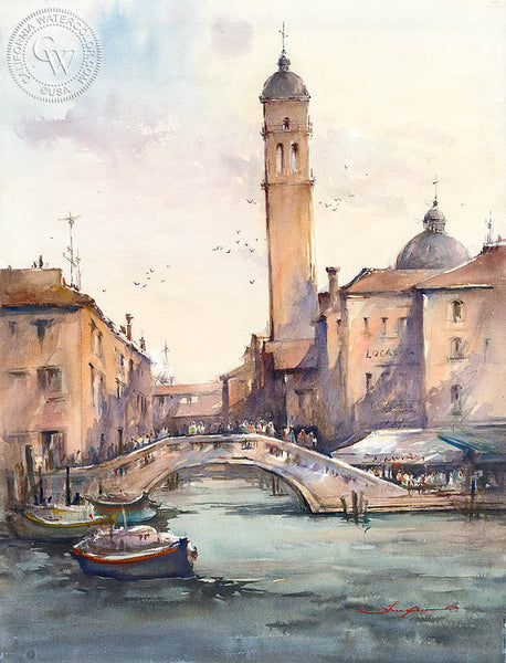 Church Tower Venice, California art by Shuang Li. HD giclee art prints for sale at CaliforniaWatercolor.com - original California paintings, & premium giclee prints for sale