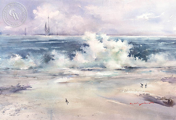 Crashing, California art by Shuang Li. HD giclee art prints for sale at CaliforniaWatercolor.com - original California paintings, & premium giclee prints for sale
