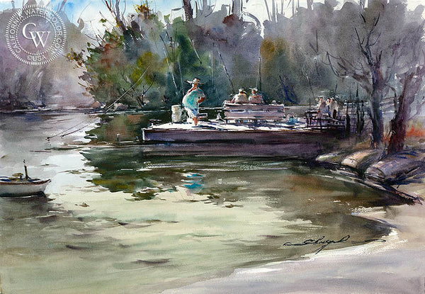 Dixon Lake Fisherman, California art by Shuang Li. HD giclee art prints for sale at CaliforniaWatercolor.com - original California paintings, & premium giclee prints for sale