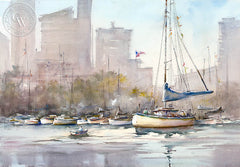 Downtown Marina, San Diego, California art by Shuang Li. HD giclee art prints for sale at CaliforniaWatercolor.com - original California paintings, & premium giclee prints for sale