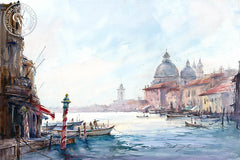 Grand Canal, Venice, California watercolor art by Shuang Li. HD giclee art prints for sale at CaliforniaWatercolor.com - original California paintings, & premium giclee prints for sale