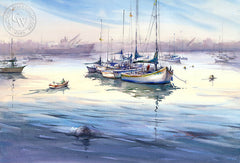 Harbor Morning III, California watercolor art by Shuang Li. HD giclee art prints for sale at CaliforniaWatercolor.com - original California paintings, & premium giclee prints for sale