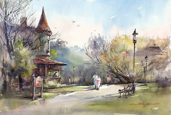 Heritage Park, San Diego, California art by Shuang Li. HD giclee art prints for sale at CaliforniaWatercolor.com - original California paintings, & premium giclee prints for sale