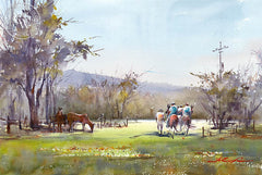 Horse Riding, Escondido, California art by Shuang Li. HD giclee art prints for sale at CaliforniaWatercolor.com - original California paintings, & premium giclee prints for sale