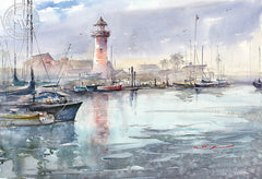 Oceanside Harbor, California art by Shuang Li. HD giclee art prints for sale at CaliforniaWatercolor.com - original California paintings, & premium giclee prints for sale