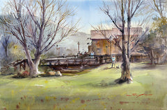 Old Poway, California art by Shuang Li. HD giclee art prints for sale at CaliforniaWatercolor.com - original California paintings, & premium giclee prints for sale