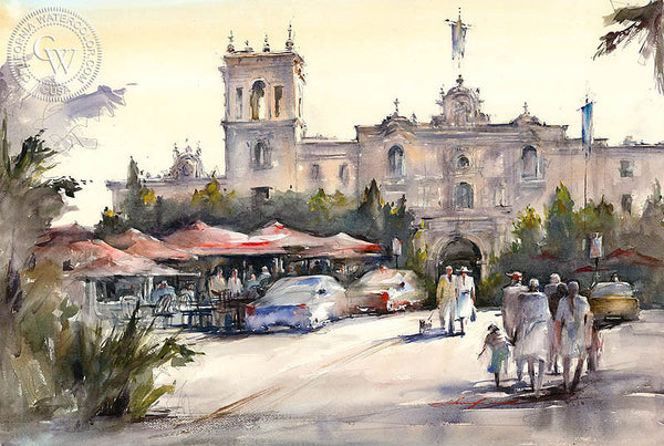 Park Visitors, Balboa Park, California watercolor art by Shuang Li. HD giclee art prints for sale at CaliforniaWatercolor.com - original California paintings, & premium giclee prints for sale