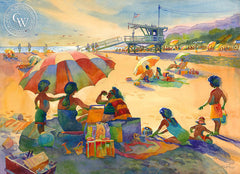 Will Rogers State Beach, Late Summer, California watercolor art by Sid Bingham. HD giclee art prints for sale at CaliforniaWatercolor.com - original California paintings, & premium giclee prints for sale