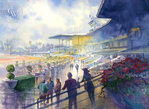 Anticipation, Santa Anita Race Track, California watercolor art by Sid Bingham. HD giclee art prints for sale at CaliforniaWatercolor.com - original California paintings, & premium giclee prints for sale