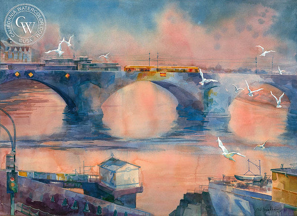Augustus Bridge, California art by Sid Bingham. HD giclee art prints for sale at CaliforniaWatercolor.com - original California paintings, & premium giclee prints for sale