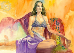 Belly Dancer, California art by Sid Bingham. HD giclee art prints for sale at CaliforniaWatercolor.com - original California paintings, & premium giclee prints for sale