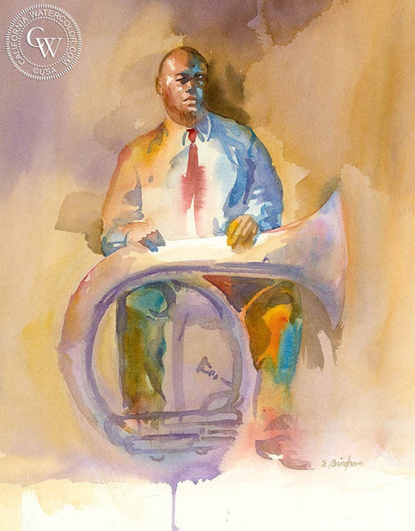 Bill and His Tuba, California art by Sid Bingham. HD giclee art prints for sale at CaliforniaWatercolor.com - original California paintings, & premium giclee prints for sale