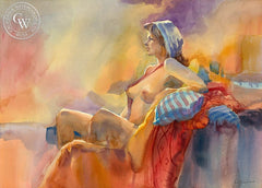 Blue Scarf, California art by Sid Bingham. HD giclee art prints for sale at CaliforniaWatercolor.com - original California paintings, & premium giclee prints for sale