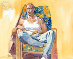 Break Time, Michael in Blue Chair, California art by Sid Bingham. HD giclee art prints for sale at CaliforniaWatercolor.com - original California paintings, & premium giclee prints for sale