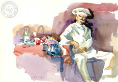 Chef 2, California art by Sid Bingham. HD giclee art prints for sale at CaliforniaWatercolor.com - original California paintings, & premium giclee prints for sale