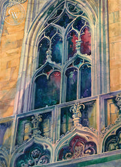 Evening with the Duomo, Milan Cathedral, California watercolor art by Sid Bingham. HD giclee art prints for sale at CaliforniaWatercolor.com - original California paintings, & premium giclee prints for sale