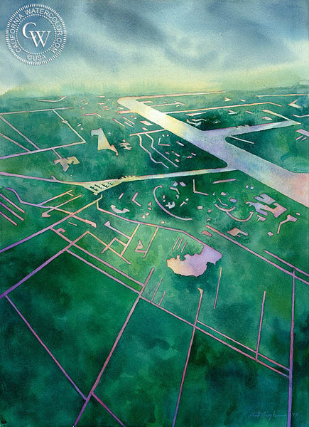 Flight Into Amsterdam, California watercolor art by Sid Bingham. HD giclee art prints for sale at CaliforniaWatercolor.com - original California paintings, & premium giclee prints for sale