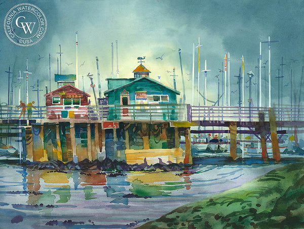 Grey Piers, Monterey, CA, California art by Sid Bingham. HD giclee art prints for sale at CaliforniaWatercolor.com - original California paintings, & premium giclee prints for sale