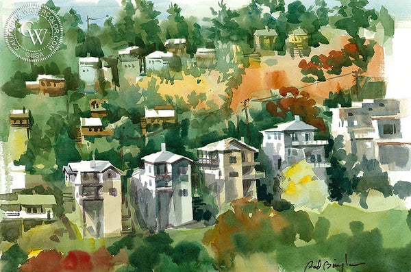 Hillside from S.W. Museum, Los Angeles, California art by Sid Bingham. HD giclee art prints for sale at CaliforniaWatercolor.com - original California paintings, & premium giclee prints for sale