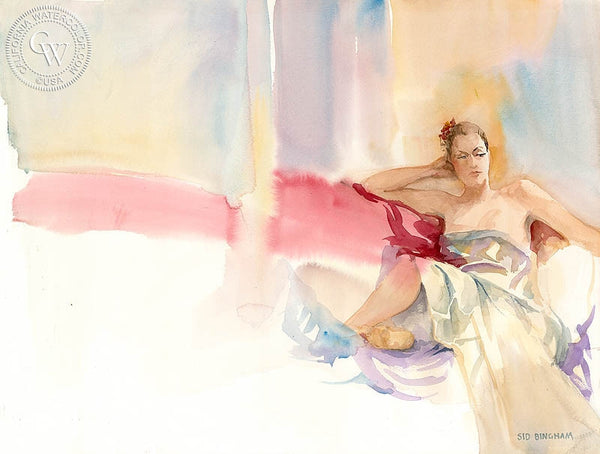 Lady at Thought, California art by Sid Bingham. HD giclee art prints for sale at CaliforniaWatercolor.com - original California paintings, & premium giclee prints for sale
