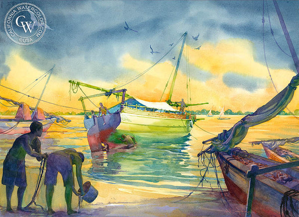 Lamu Island, Kenya, California watercolor art by Sid Bingham. HD giclee art prints for sale at CaliforniaWatercolor.com - original California paintings, & premium giclee prints for sale