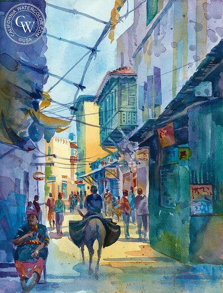 Street on Lamu Island, Kenya, California watercolor art by Sid Bingham. HD giclee art prints for sale at CaliforniaWatercolor.com - original California paintings, & premium giclee prints for sale