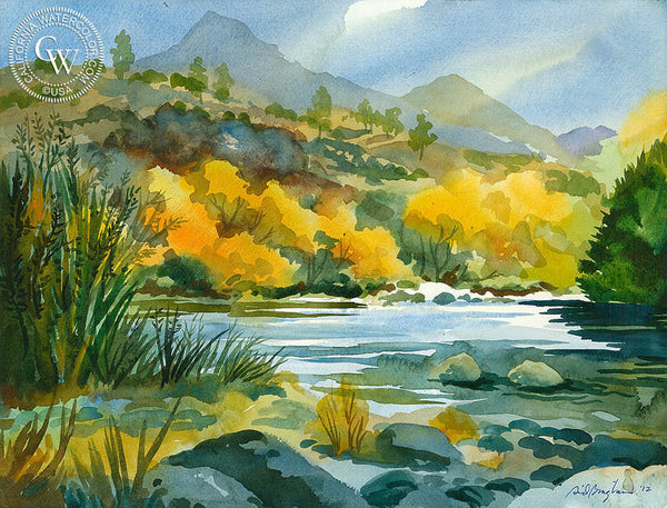 Late Afternoon Light, Kern River, California art by Sid Bingham. HD giclee art prints for sale at CaliforniaWatercolor.com - original California paintings, & premium giclee prints for sale