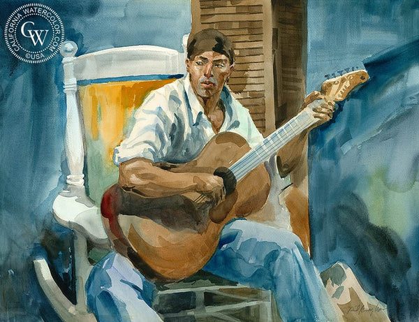 Michael with Guitar, California art by Sid Bingham. HD giclee art prints for sale at CaliforniaWatercolor.com - original California paintings, & premium giclee prints for sale