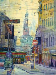 Milan, Italy, California watercolor art by Sid Bingham. HD giclee art prints for sale at CaliforniaWatercolor.com - original California paintings, & premium giclee prints for sale