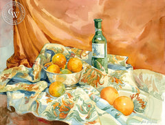 Oranges with Wine Bottle, California art by Sid Bingham. HD giclee art prints for sale at CaliforniaWatercolor.com - original California paintings, & premium giclee prints for sale