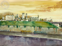 Raw Power, Glendale Power and Water, California art by Sid Bingham. HD giclee art prints for sale at CaliforniaWatercolor.com - original California paintings, & premium giclee prints for sale