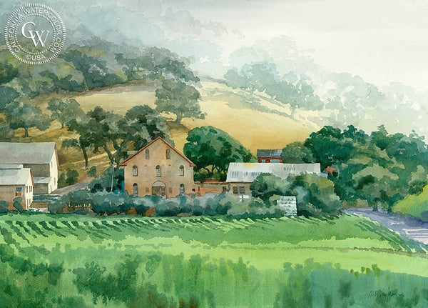 Regusci Winery, Silverado Trail, Napa, California art by Sid Bingham. HD giclee art prints for sale at CaliforniaWatercolor.com - original California paintings, & premium giclee prints for sale