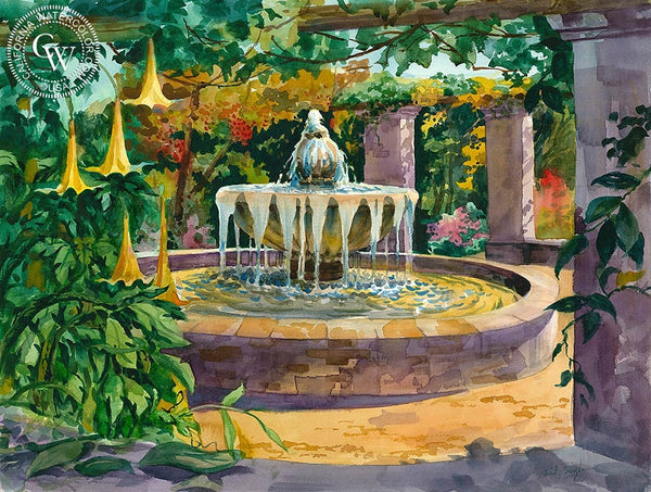 Spring at the Mexican Fountain, Descanso Gardens, California art by Sid Bingham. HD giclee art prints for sale at CaliforniaWatercolor.com - original California paintings, & premium giclee prints for sale