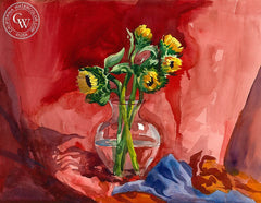 Sunflowers in Vase, California art by Sid Bingham. HD giclee art prints for sale at CaliforniaWatercolor.com - original California paintings, & premium giclee prints for sale