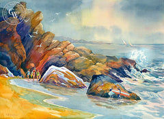 Sycamore Cove, CA, California watercolor art by Sid Bingham. HD giclee art prints for sale at CaliforniaWatercolor.com - original California paintings, & premium giclee prints for sale
