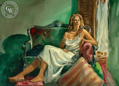The Green Sofa, California art by Sid Bingham. HD giclee art prints for sale at CaliforniaWatercolor.com - original California paintings, & premium giclee prints for sale