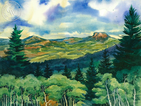 View from Bugle Ridge, Quaker Mountain, California art by Sid Bingham. HD giclee art prints for sale at CaliforniaWatercolor.com - original California paintings, & premium giclee prints for sale