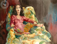 Woman in Red, California art by Sid Bingham. HD giclee art prints for sale at CaliforniaWatercolor.com - original California paintings, & premium giclee prints for sale