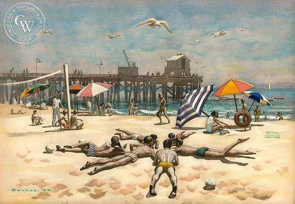 Goleta Beach, 1954, California art by Standish Backus Jr.. HD giclee art prints for sale at CaliforniaWatercolor.com - original California paintings, & premium giclee prints for sale