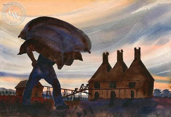 Hop KIln, 1940, California art by Standish Backus Jr.. HD giclee art prints for sale at CaliforniaWatercolor.com - original California paintings, & premium giclee prints for sale