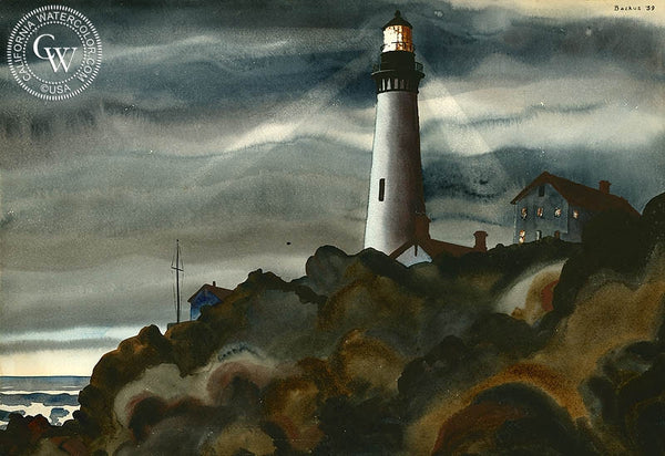 Lighthouse, 1939, California art by Standish Backus Jr.. HD giclee art prints for sale at CaliforniaWatercolor.com - original California paintings, & premium giclee prints for sale